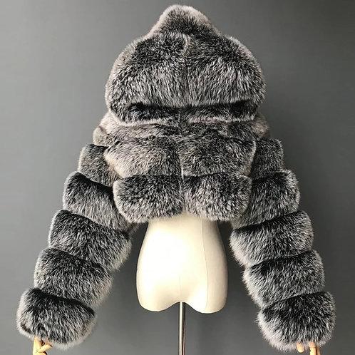 Plush Fashion Coat' grey