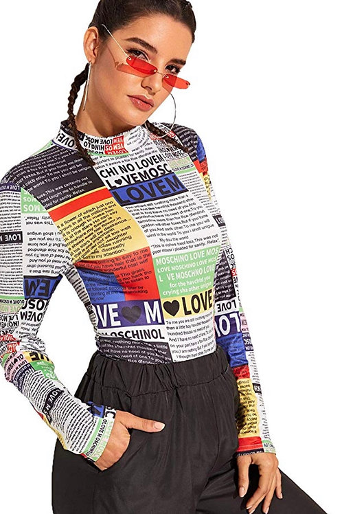 Extra Read All About It ' Multi Color Body Suit
