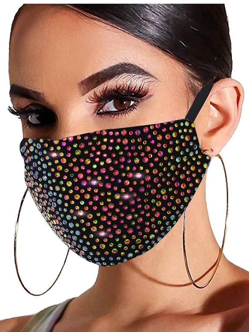 Multi colored bedazzled mask