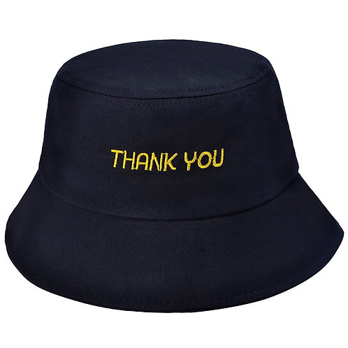 Thank you' bucket hat' black