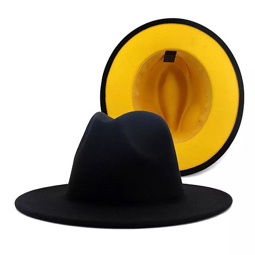 Fedora hat' black yellow bottom
