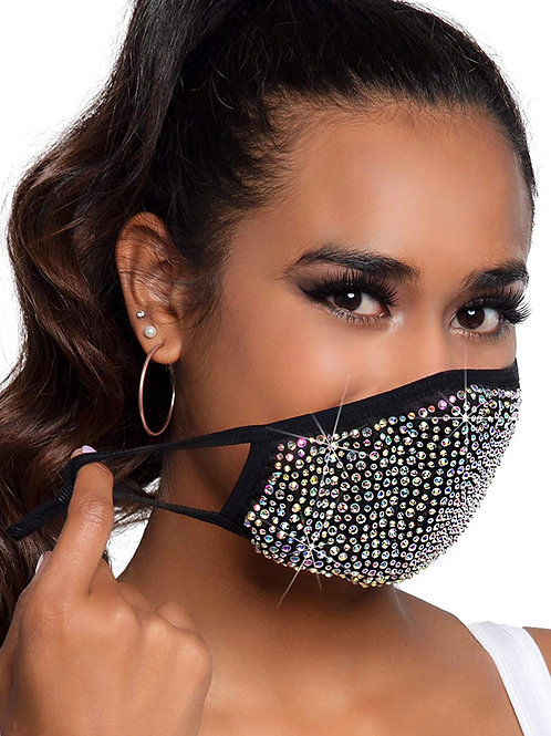 Fashion blacked bedazzled  crystal mask