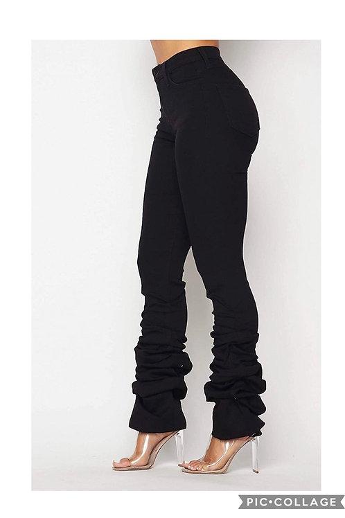 Logan  Ruffle Bell Black Jean Pants