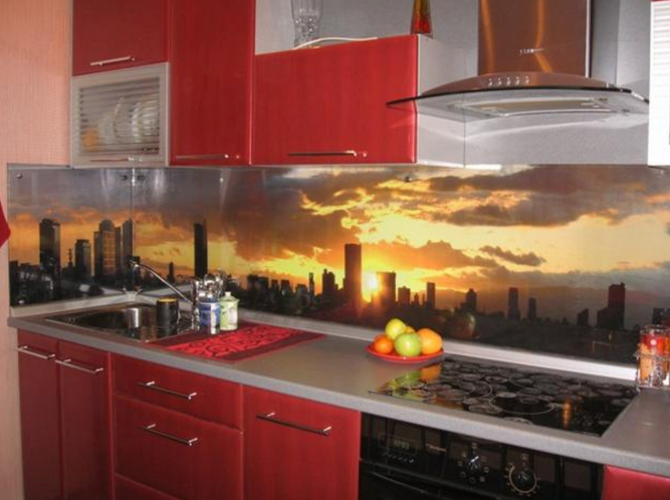 Glass panel kitchen sunset