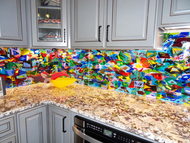 Glass panel kitchen colorful