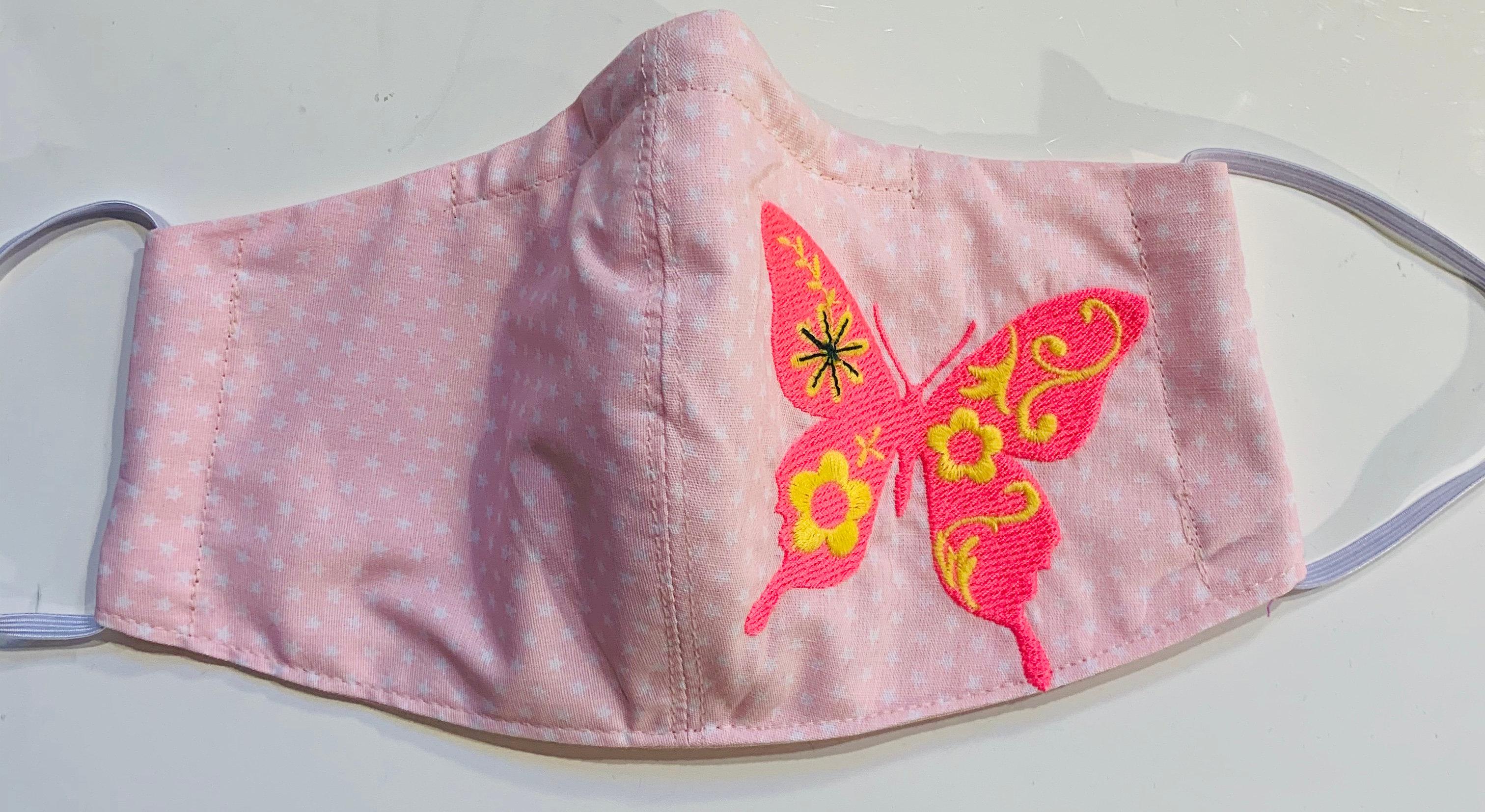 f/ür den Au/ßenbereich Schmetterlings-Mundschutz aus Baumwolle Rosa