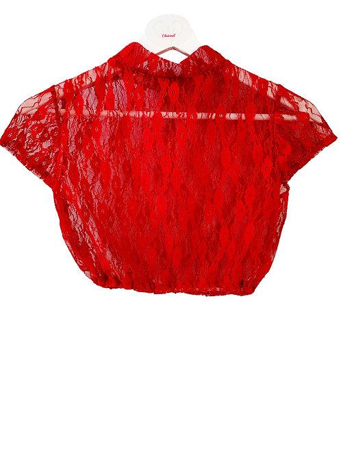 Spitzenbluse Rot