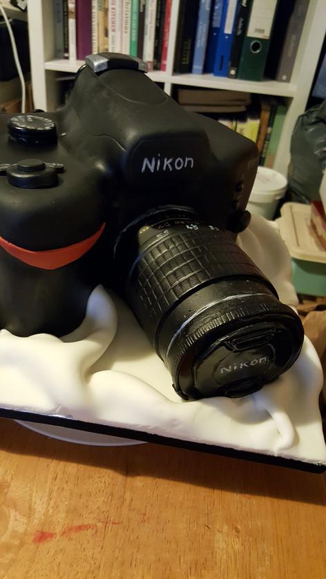 sculpted camera cake