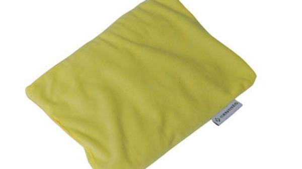 Petit coussin chauffant  rectangulaire graine de lin jaune