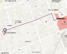 篠崎駅から当院へのマップ。視覚障害をお持ちの方は駅まで迎えに行きます。