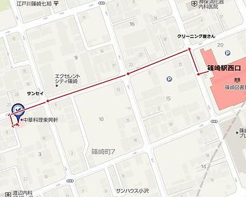 篠崎駅から当院へのマップ。視覚障害をお持ちの方は駅まで迎えに行けます。