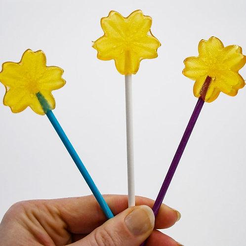 Natural Honey Lollipops, Set of 3 | Flower Shaped