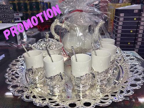 Ensemble théière + verres à thé + plateau + sucrière