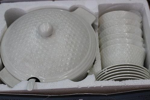 Soupière blanche x6 bols