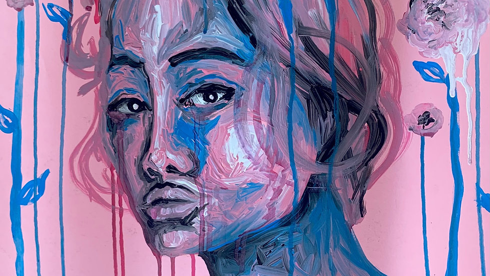 Pink and Blue Portrait