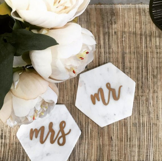 Personalised Marble Hexagon Coasters