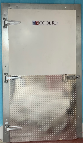 COOLREF Swing Door is fabricated by the white-coated aluminum and furnished with diamond aluminum kickplate
