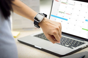 Woman hand with smart watch on wrist. Pl
