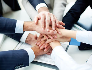 Close-up of business partners making pil