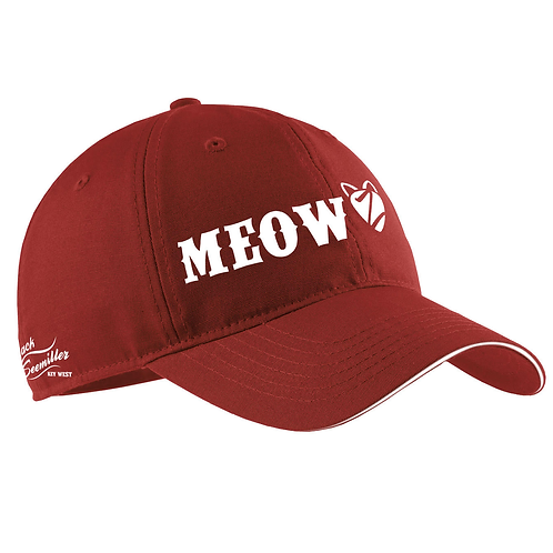 """Meow"" Baseball Cap - Red"