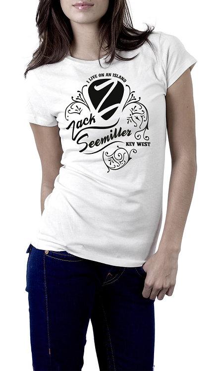 """I Live on an Island"" Ladies T-Shirt - White"