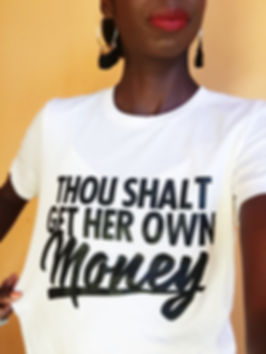 Black woman entrepreneur wearing thou shalt get her own money tees in the trap t-shirt