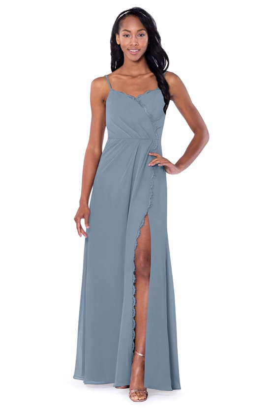 African American Woman with relaxed hair in dusty blue Azazie Bridesmaids Dress