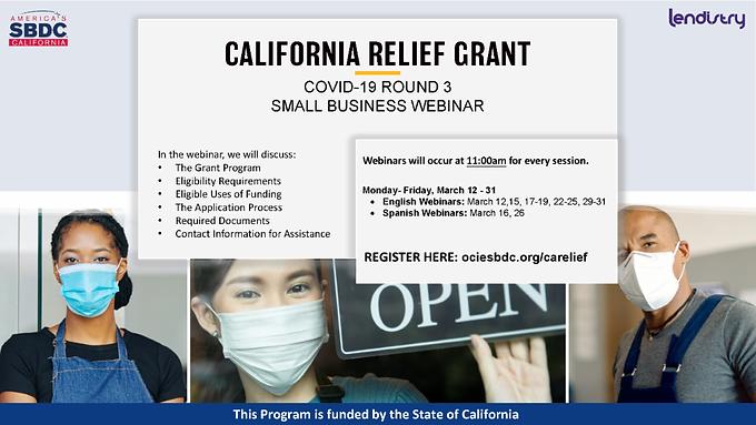 State of California COVID-19 Small Business Grant Webinar