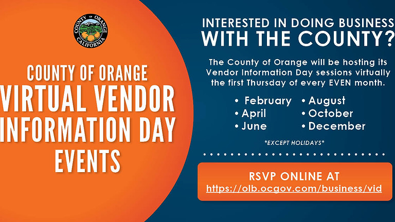 County of Orange Virtual Vendor Information Day Events