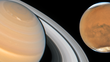 Saturn and Mars at opposition