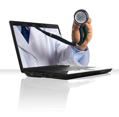 A doctor's hand sticking out of a laptop