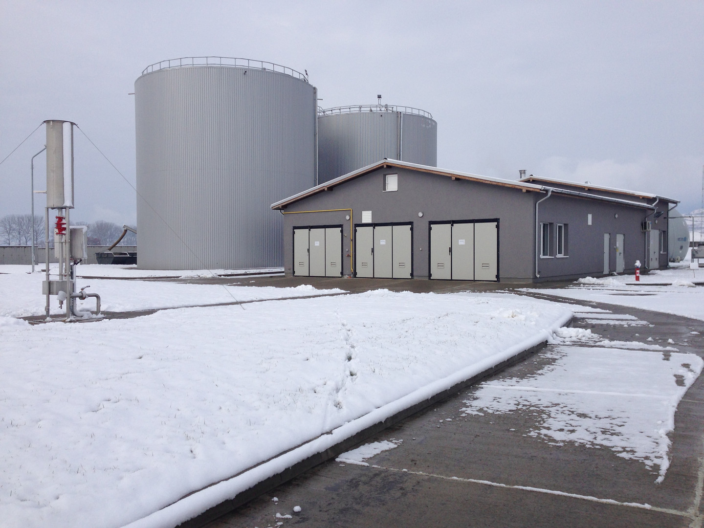 Digesters, biogas flare and technical bu