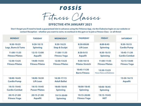 NEW Class Timetable launching 4th January!