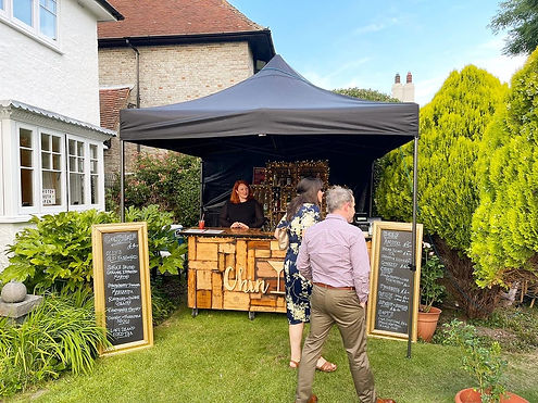 Chin Chin Mobile Wine Box Bar at Oliver & Soafia's Garden Wedding in Eastbourne, East Suss