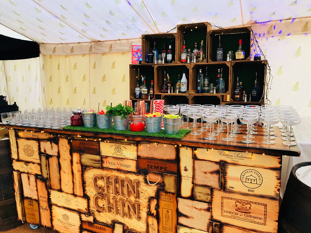 Chin Chin Wine Box Bar at Marquee Wedding in Dorset