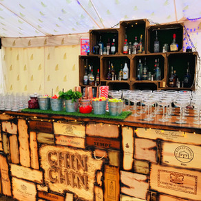 Chin Chin Wine Box Bar at George & Polly's Marquee Wedding in Dorchester
