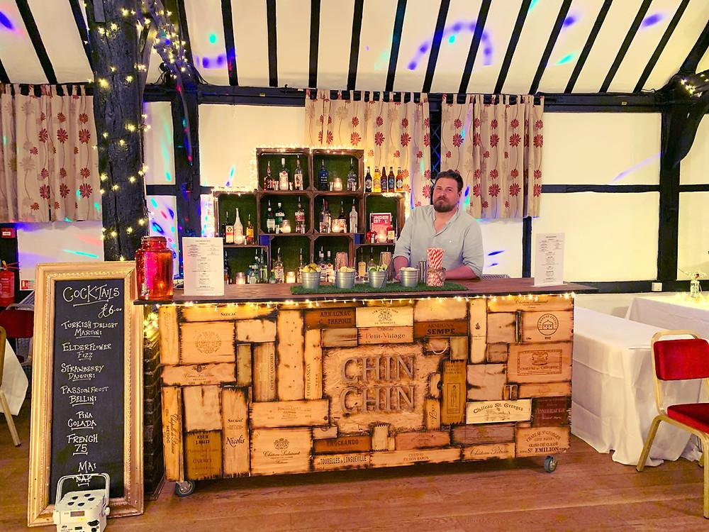 Chin Chin Wine Box Bar at Post-Wedding Party at Chilham Village Hall in Canterbury, Kent