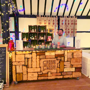 Chilham Village Hall Wedding | Chin Chin Wine Box Bar at Post-Wedding Party