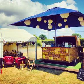 Chin Chin Caravan Bar at Daniel & Shelley's Marquee Wedding at Frickley Lake near Hastings