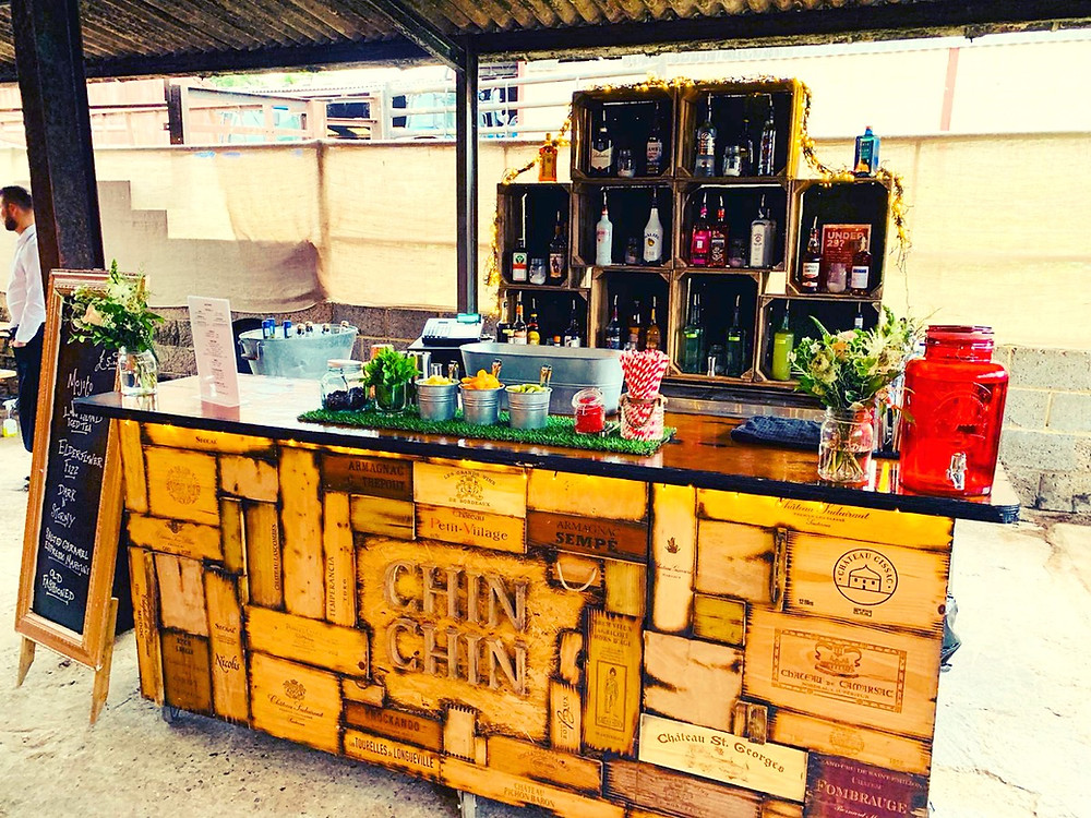 Chin Chin Wine Box Bar at Max & Anna's Farm Wedding in Crowborough, East Sussex