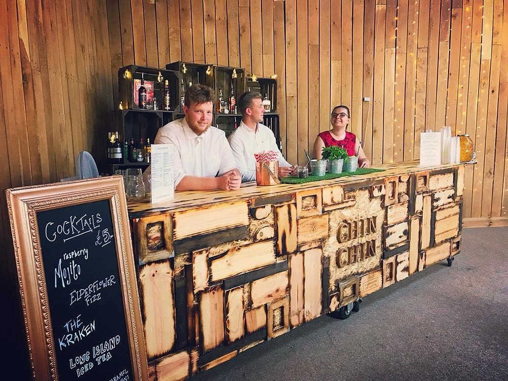 Large Chin Chin Wine Box Bar at Nick & Phoebe's Barn Wedding in Tunbridge Wells, Kent