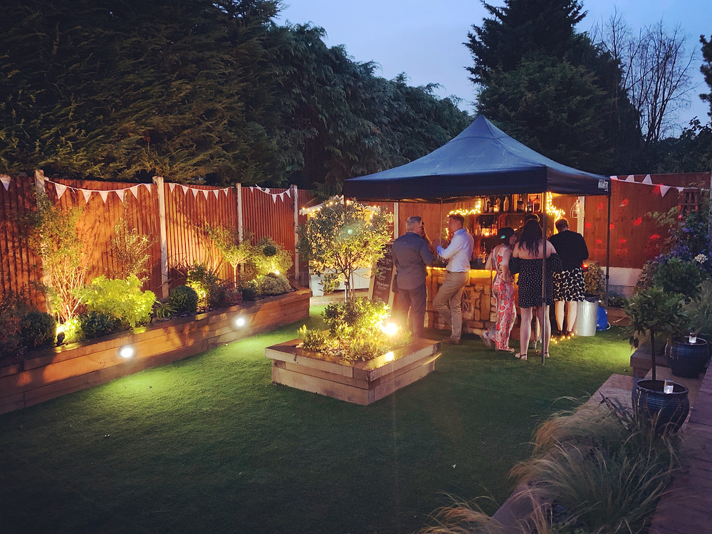 Chin Chin Wine Box Bar at Lee & Paula's Wedding Anniversary Garden Party in Billericay Essex