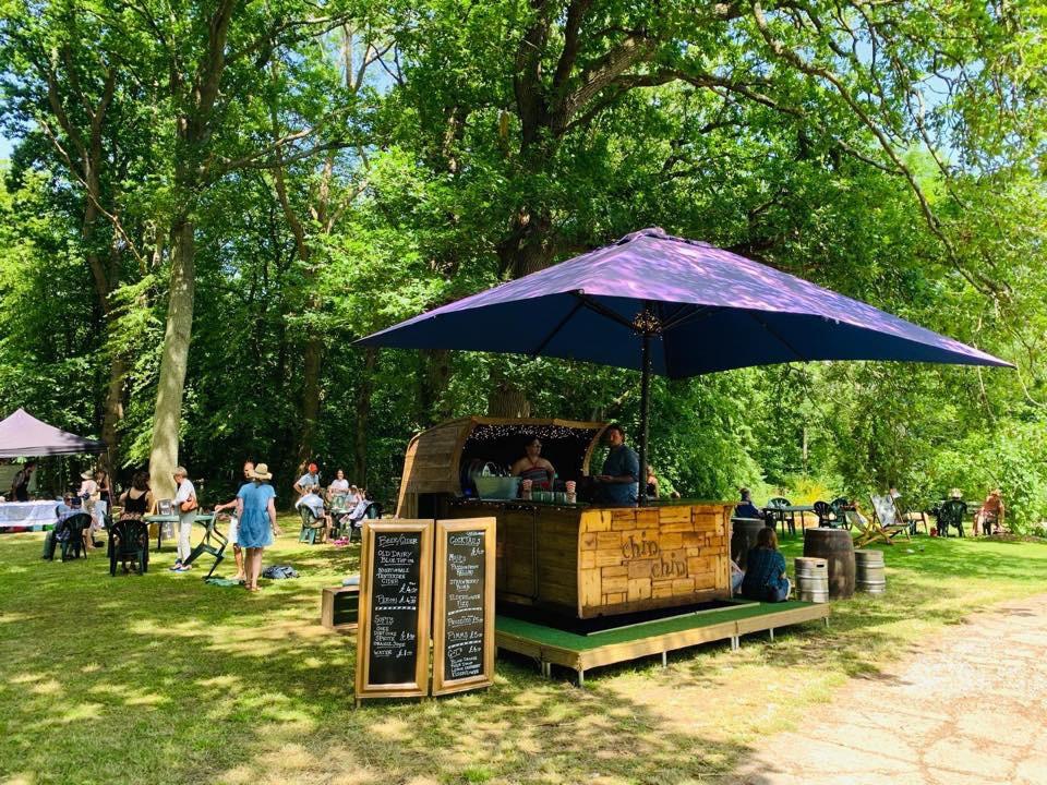 Chin Chin Caravan Bar at Wealden Literary Festival 2019 in Woodchurch Kent