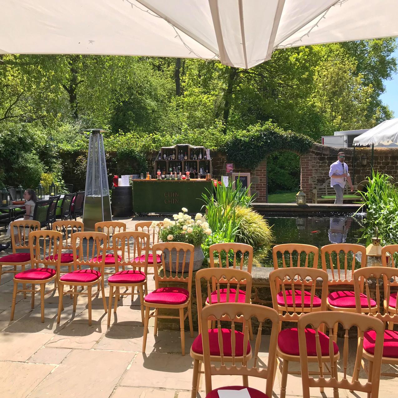 Chin Chin Lawn Bar at Bartholomew Barn Wedding in West Sussex
