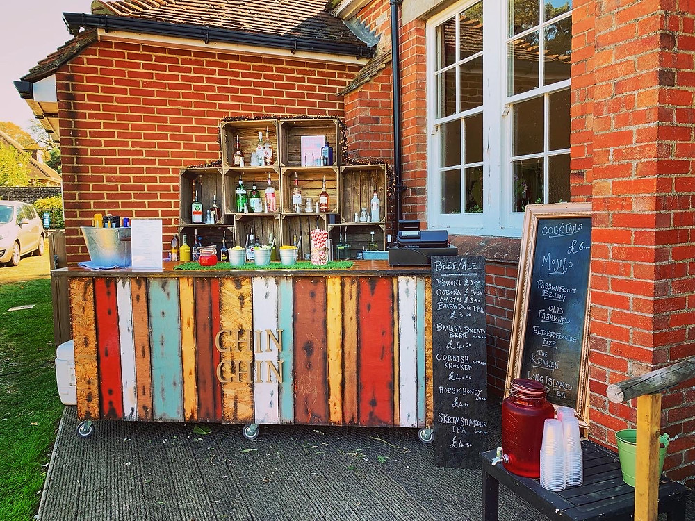 Chin Chin Bottoms Up Bar at Basil & Hannah's Wedding at Winchelsea New Hall in East Sussex
