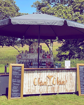Chin Chin Mobile Driftwood Bar at Duncan & Chloe's Wedding at Knepp Castle Estate in Susse