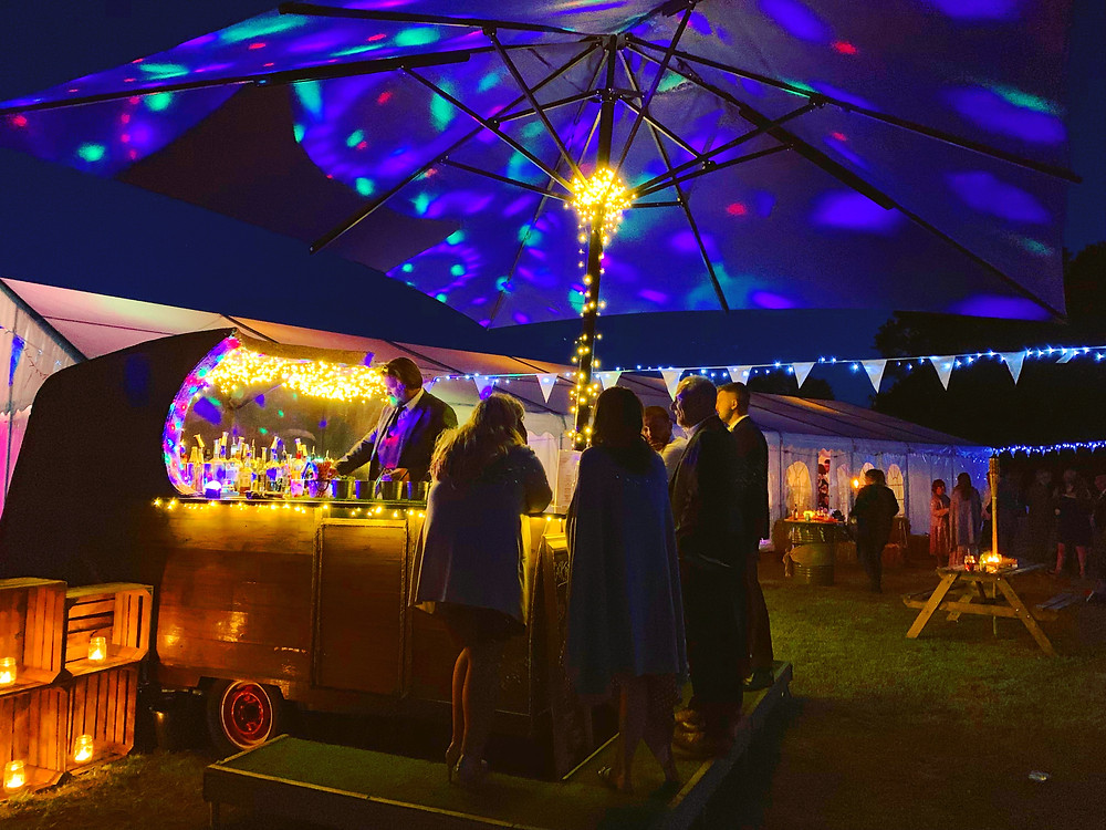 Chin Chin Caravan Bar at Jack & Lauren's Marquee Wedding in Chelmsford Essex