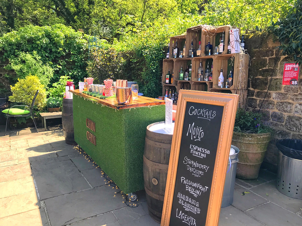 Chin Chin Lawn Bar at Ben & Charlotte's Spring wedding at Bartholomew Barn, West Sussex