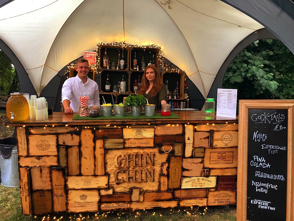 Small Chin Chin Wine Box Bar at Andrea & Jamie's wedding in Oxford