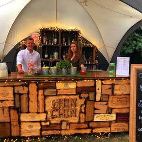Chin Chin Wine Box Bar at Jamie & Andrea's Woodland Wedding at Brightwell Vineyard, Oxford